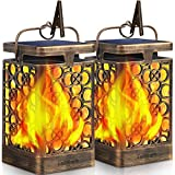 TomCare Solar Lights Upgraded Solar Lantern Flickering Flame Outdoor Hanging Lantern Decorative Lighting Solar Powered Waterproof LED Flame Umbrella Lights for Patio Garden Deck Yard, 2 Pack, Bronze