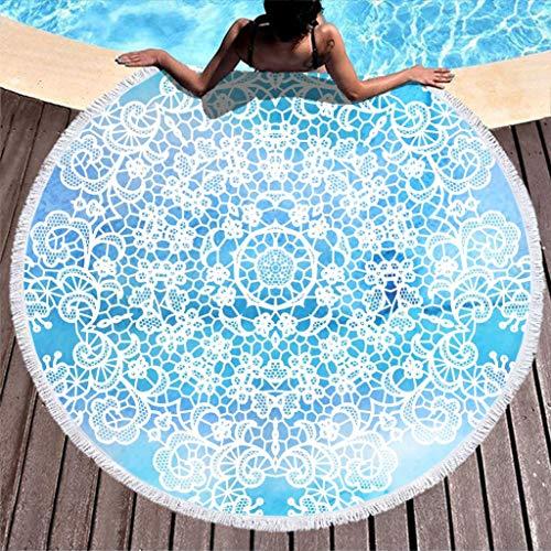 COMBON Shop Toalla de playa redonda superabsorbente, color azul claro, para baño blanco de 59 pulgadas