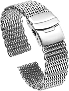 Premium 18mm 20mm 24mm Shark Mesh Watch Band Milanese Stainless Steel Watch Strap Double Lock Buttons Diver Clasp Bracelet Silver/Black-Extra Large(195mm-200mm)