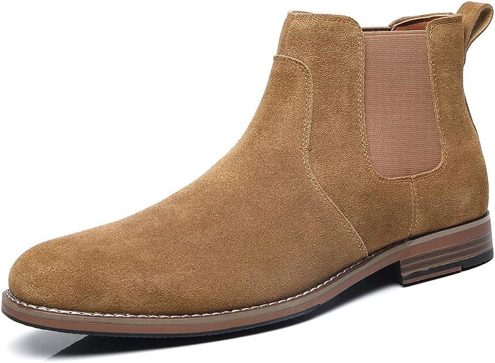 Chelsea Slip-on Manufacturer OFFicial shop Suede Boots Super popular specialty store For Men Leather Dress Genuine