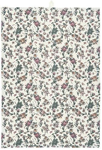 IB Laursen Paño de cocina de algodón con diseño de flores blancas en rosa y gris