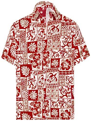 LA LEELA Männer Knopf Hawaiihemd Kurze Ärmel Kragen Vortasche Schildkröte gedruckt flippiger Aloha Regular fit Lager down-Hemd Rot_AA251 M