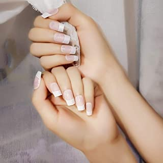 YienDoo 24PCS False Nails Pink Long Square Head French Nails Fake Nails for Women and Girls