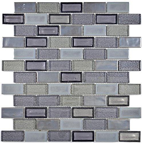 Mosaico Piastrelle in ceramica grigio traslucido Brick vetro mosaico Crystal in ceramica altgrau per pavimento parete bagno doccia cucina Piastrelle Specchio banconi verkleidung badewannen verkleidung mosaico Matte mosaico Piastra