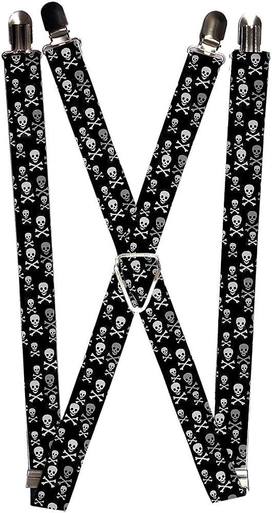Buckle-Down Men's Suspender-Skulls, Multicolor, One Size