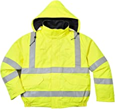 Brite Safety BizFlame Hi Vis Rain Jacket Anti-Static FR Bomber Jackets - Fire Resistant Clothing for Men and Women (Yellow,3XL)