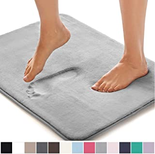 GORILLA GRIP Original Thick Memory Foam Bath Rug, 30x20, Cushioned Soft Floor Mats, Absorbent Premium Bathroom Mat Rugs Rugs, Machine Washable, Luxury Plush Comfortable Carpet for Bath Room, Dark Gray