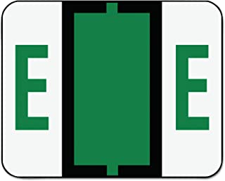 Smead BCCR Bar-Style Alphabetic Color-Coded Labels, Letter E, Dark Green, 500 Labels per Roll (67075)