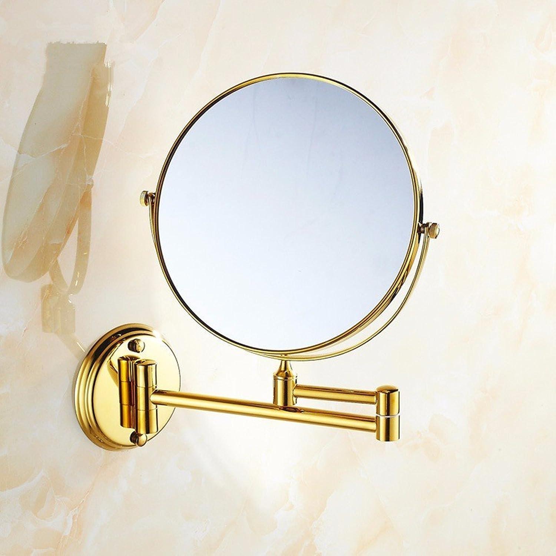 Copper bathroom vanity mirror European gold folding mirror bathroom scale vanity mirror wall mount makeup mirror
