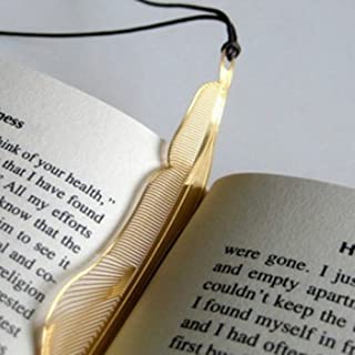 Metal Bookmarks with Leather String,18K Gold Plated,Feather Design (3PCS)
