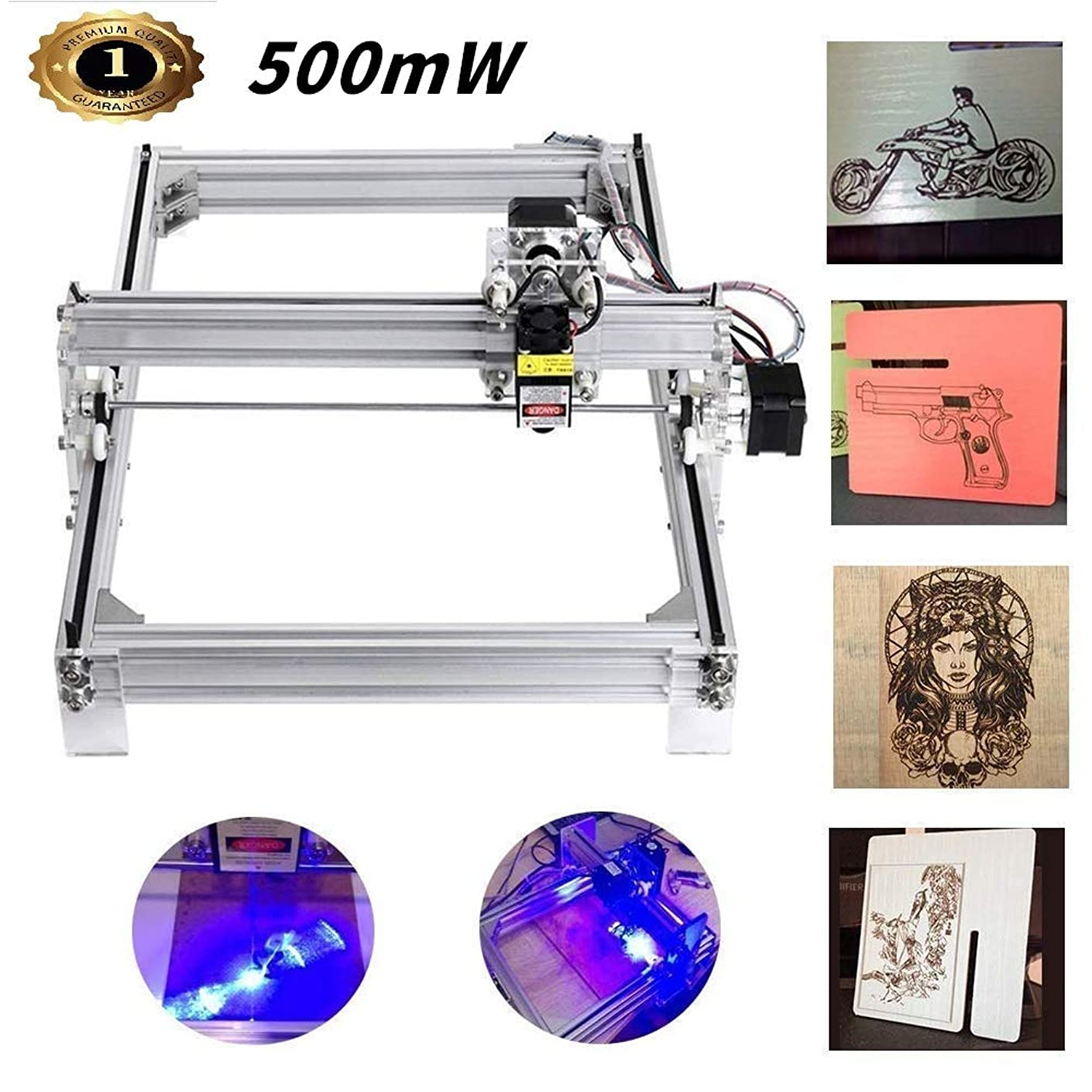 500mw Laser CNC Engraving Machine, DIY 4030CNC Machine Precison 0.1mm with USB Interface, Carving Machine for Leather Wood Plastic (3040cm/500mw)