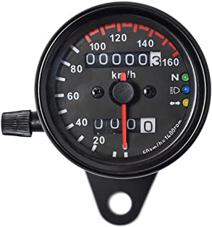 DKMOTORK 0021 Motorcycle Speedometer Dual Odometer Gauge with Led Backlight Neutral Headlight Turn Signal Indicator Stainless 2.56 Inches 12V Universal Black