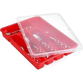 Zilpoo Bandeja para cubiertos con tapa, plástico organizador de ...