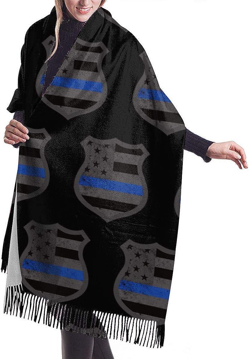 Women's Fashion Long Shawl Winter Warm Large Scarf, Police Thin Blue Line