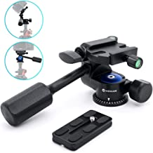 Moman Tripod Fluid Drag Pan Head with Handle and 1/4 Quick Release, Lightweight 3-Ways Panning Ball Head with 22 lb Payload for Tripod Monopod, Slider, DSLR Cameras, Camcorder and Light Stands