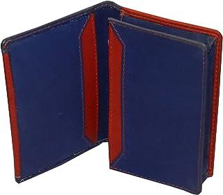 Laveri Genuine Leather Credit Card Holder Wallet Unisex Bill and Card Holder - Leather, Blue and Red