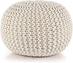 vidaXL Hand-Knitted Pouffe Living Room Bedroom Foot Rest Stool Seat Ottoman Furniture Cotton 50x35cm White