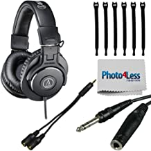 Audio-Technica ATH-M30x Professional Monitor Headphones + Headphone Splitter + 1/4 inch TRS to 1/4 inch TRS Headphone Extension Cable + Strapeez + Cleaning Cloth - Top Value Headphone Bundle