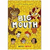 Big Mouth 2018 Temporada 2 Serie de TV Show Teenagers Comic Cartoon Poster Art Silk Light Canvas Home Room Decoracin de impresin de Pared -50x70cm Sin Marco