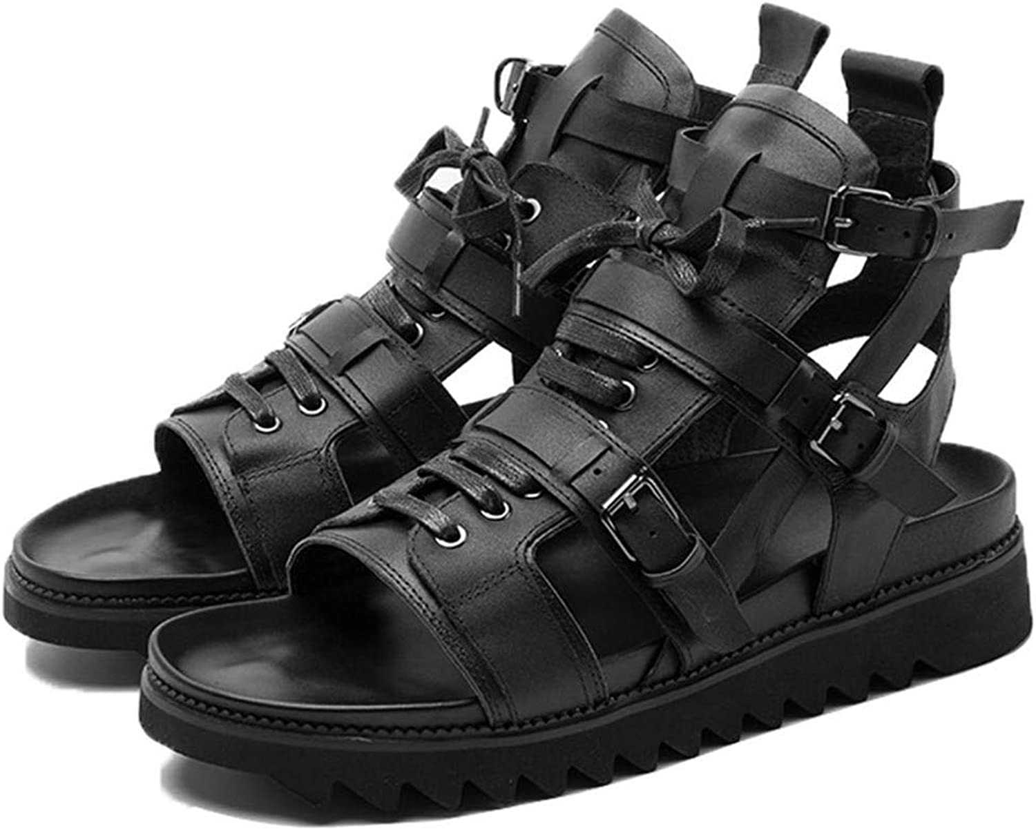 2019 Italian New Cow Real Leather High Top Men Beach Sandals Thick Platform Lace Up Buckle Strap Hollow Out Punk Gladiator shoes