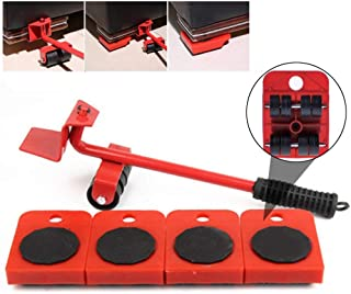 AYAY Washingtool Furniture Lifter Easy Moving Sliders 5 Packs Mover Tool Set, Heavy Duty Moving System Move Roller Tools 360 Degree Rotatable Pads for Sofas, Couches and Refrigerators (RED) (Red)