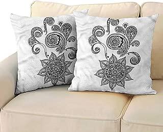 Godves Square Pillow Case Cover Henna Paisley Tattoo Design Super Soft and Luxury, Hidden Zipper Design 18