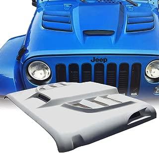 Xprite Batman Series Fiber Glass Open Air Hood Scoop with Side Vents Hood for 2007-2018 Jeep Wrangler JK JKU