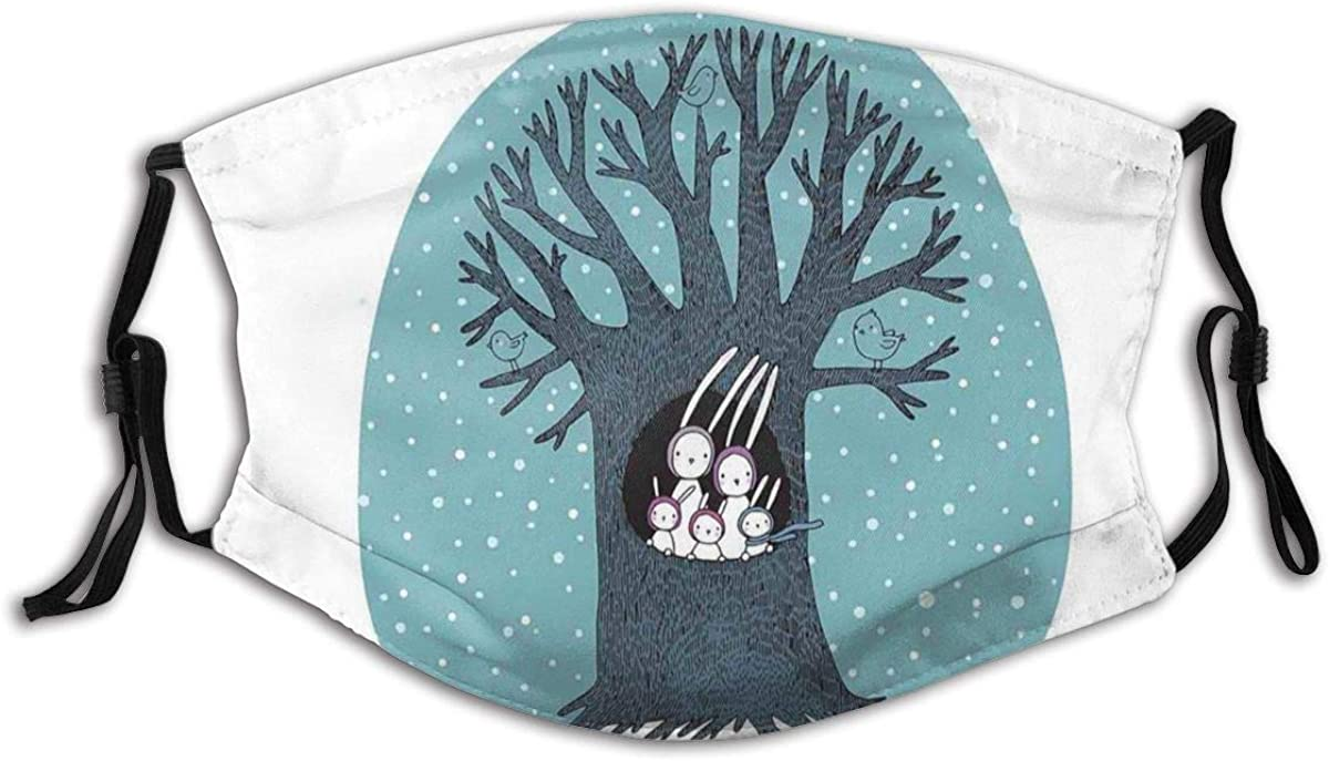 Janrely Reusable Washable Facial Polyester Covering for Women Men Leafless Winter Tree with Bunch of Rabbit On Its Hollow Birds On Branches Snowfall Windproof Anti-Dust Mouth Bandanas Neck Gaiter