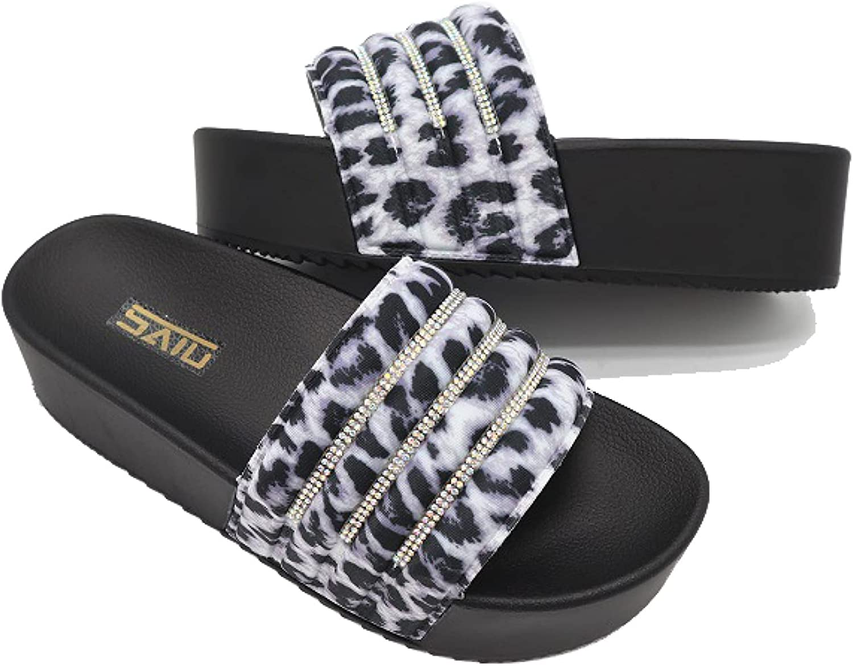 Summer Casual High Heel Anti-Slip Durable Slide Sandals Rhinestone Leopard Beach Party Platform for Women's Slides