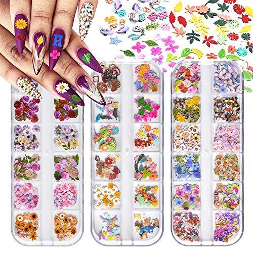 Kalolary 3 cajas Lentejuelas de uñas de flores, Lentejuelas de uñas de flores de simulación 3D Lentejuelas de pulpa de uñas de abeja de margarita de arce Para la decoración de uñas navideñas