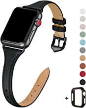 WFEAGL Leather Bands Compatible with Apple Watch 38mm 40mm 42mm 44mm, Top Grain Leather Band Slim & Thin Replacement Wrist...