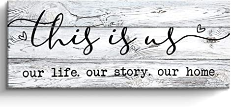 This is Us Prints Signs for Home Decor, Inspirational Family Canvas Wall Art Framed, Retro Artwork Decoration for Bedroom,...
