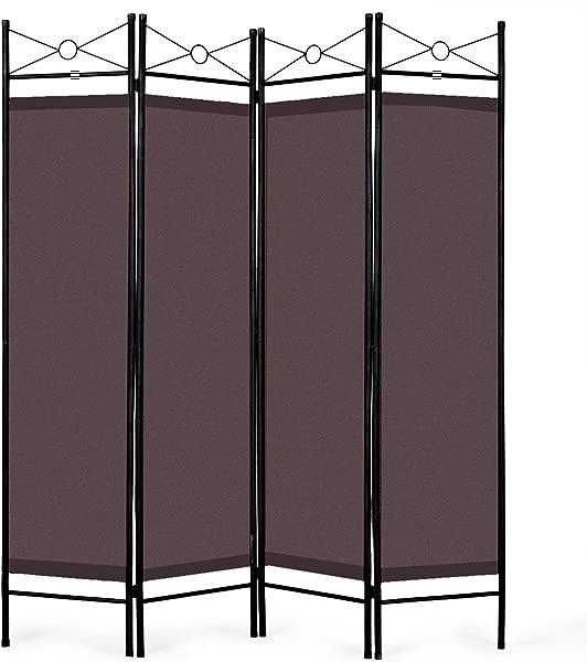 Giantex 4 面板房间隔断屏风钢架织物表面独立式房间隔断和折叠隐私屏风家庭办公室棕色