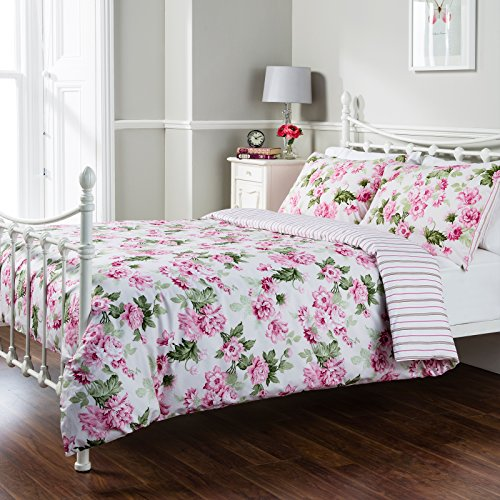 Pure Opulence Celine Floral Multi Stripe King Size Duvet Quilt Cover Bedding Set
