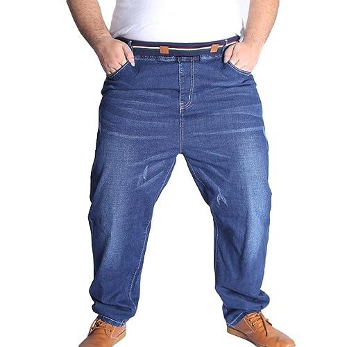 Heheja Homme Pantalons Grande Taille Élastique Jeans Loisir Straight Denim  Pantalon aff09817d127