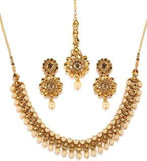 Bindhani Women's Indian Style Jewelry Bridal Wedding Crafted Brides Fashion Gold Plated Kundan Choker Faux Pearl Drop Necklace Earrings Tikka Bollywood Party Wear Jewellery Tika Set for Bridemaids