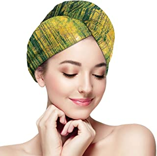 Quick Dry Hair Wrap Towels Turban,Pathway In Autumn Dramatic Road To Infinity Toned Warm Fall Colors Rural Scenery Print,Absorbent Shower Cap