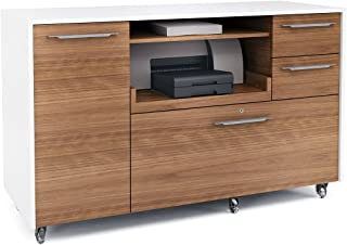 BDI Format Multifunction Mobile Credenza, White/Natural Walnut