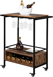 Home Bar & Serving Carts,Industrial Furniture Wood Top Metal Frame Bar Cart,Two-Layer Double-Armrest Black Paint with Small Wood Grid (Two Layers of Small Wooden Lattice)