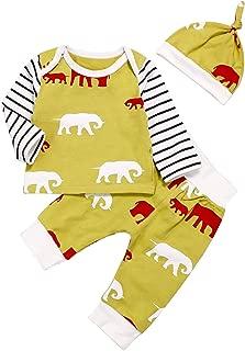 Infant Toddler Boys Girls Outfits Long Sleeve Elephant Print Top + Pants + Hat Children 3PCS Clothing Sets