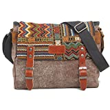FXTXYMX 11.8 inch iPad Carrying Case Functional HandBag Tablets Messenger Bag Leisure Canvas Shoulder Crossbody Bag For Men Women College Teens (Coffee)