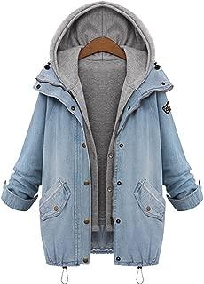 QZUnique Women's Plus Loose Fashion Slim Fit Hooded Cotton Denim Vest Jacket
