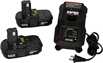 Ryobi P118 18V Dual Chemistry Lithium Ion / NiCad Battery Charger with 2 Genuine OEM P102..