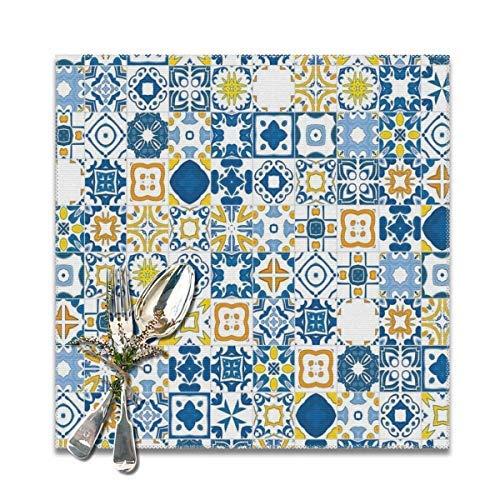 Mosaik-Tischsets für Esstisch, portugiesisch, Azulejo, mediterran, arabeskischer Effekt, waschbar, 30,5 x 30,5 cm, 4 Stück