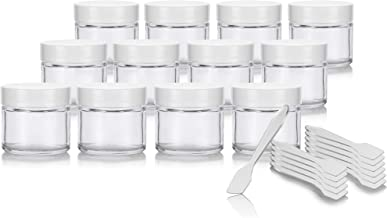 2 oz / 60 ml Clear Glass Straight Sided Jar with White Smooth Lined Lids (12 pack) + Spatulas