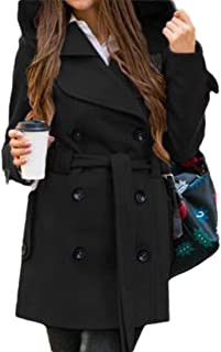 Women with Hooded Belt Warm Double Breasted Long Sleeve Solid Color Pocket Blend Coat