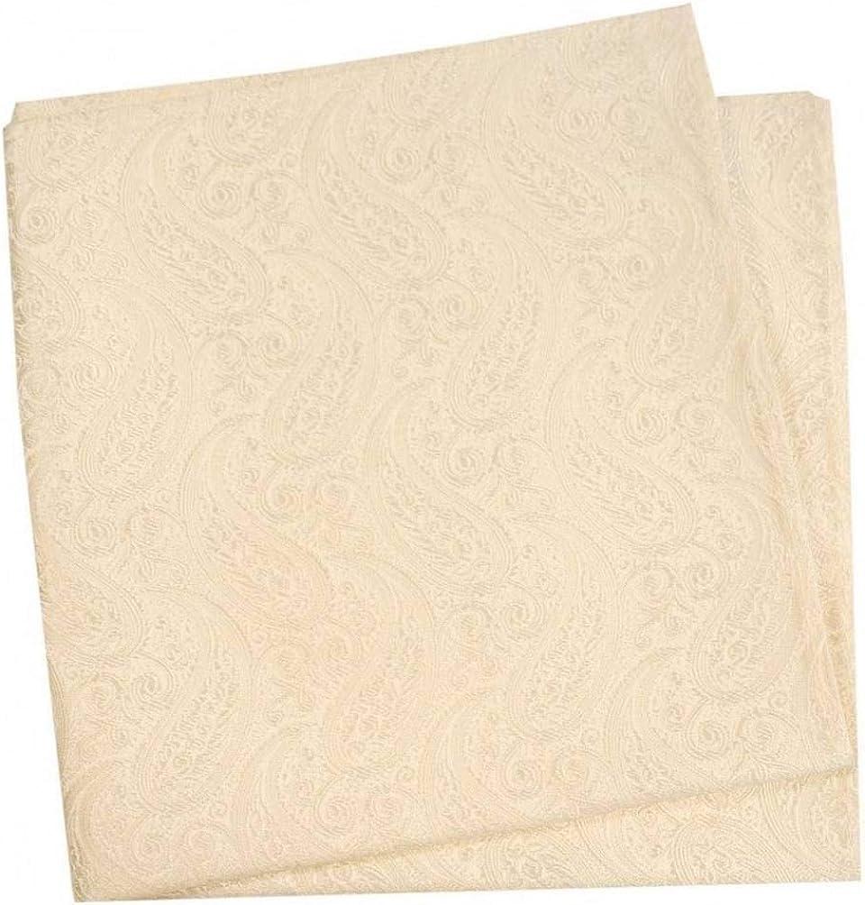 David Van Hagen Mens Tonal Paisley Silk Handkerchief - Ivory