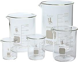 Karter Scientific 213A2 Borosilicate Glass Low Form Glass Beaker, 50/100/250/500/1000 mL (Pack of 5)