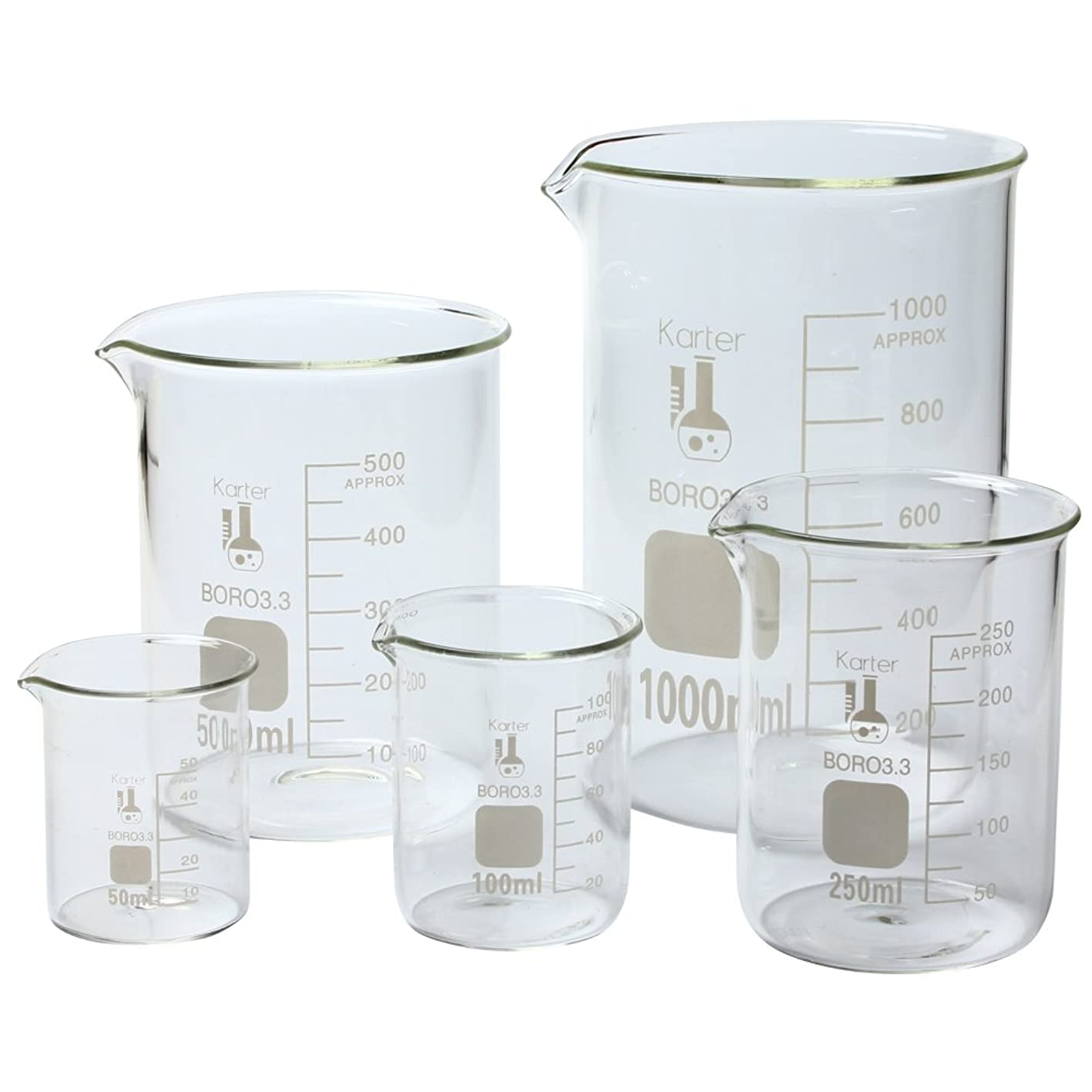 Karter Scientific 213A2 Borosilicate Glass Low Form Glass Beaker, 50/100/250/500/1000 mL (Pack of 5) iaplxjttkzb372