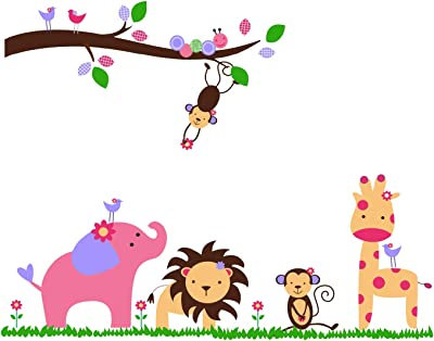 Prodecals Wall Sticker for Living Room Baby Cartoon Animal Kingdom Kids Room (Wall Covering Area : 120 X 90 cms, Multicolour)